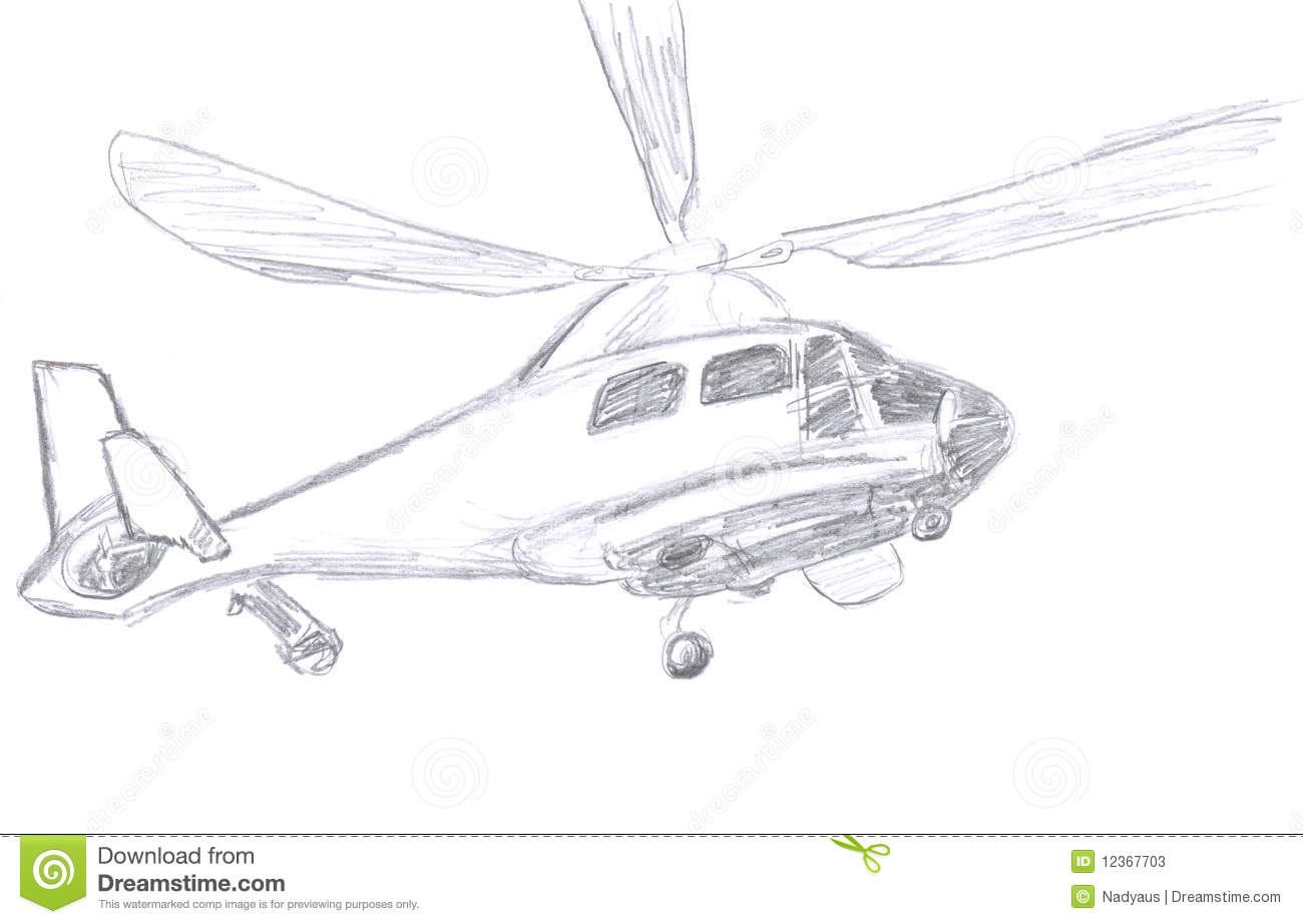 Helicopter Sketch Stock Illustration Illustration Of
