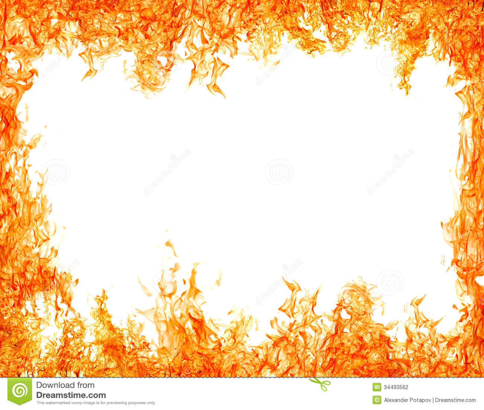 Helles Lokalisiert Auf Weiem Orange Flammenrahmen