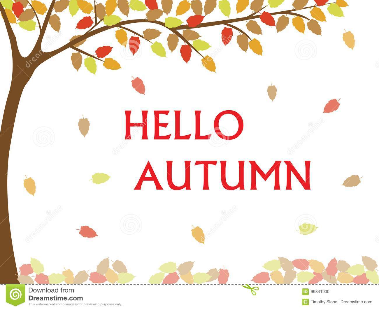 Hello Autumn Fall Writing Stock Vector Illustration Of