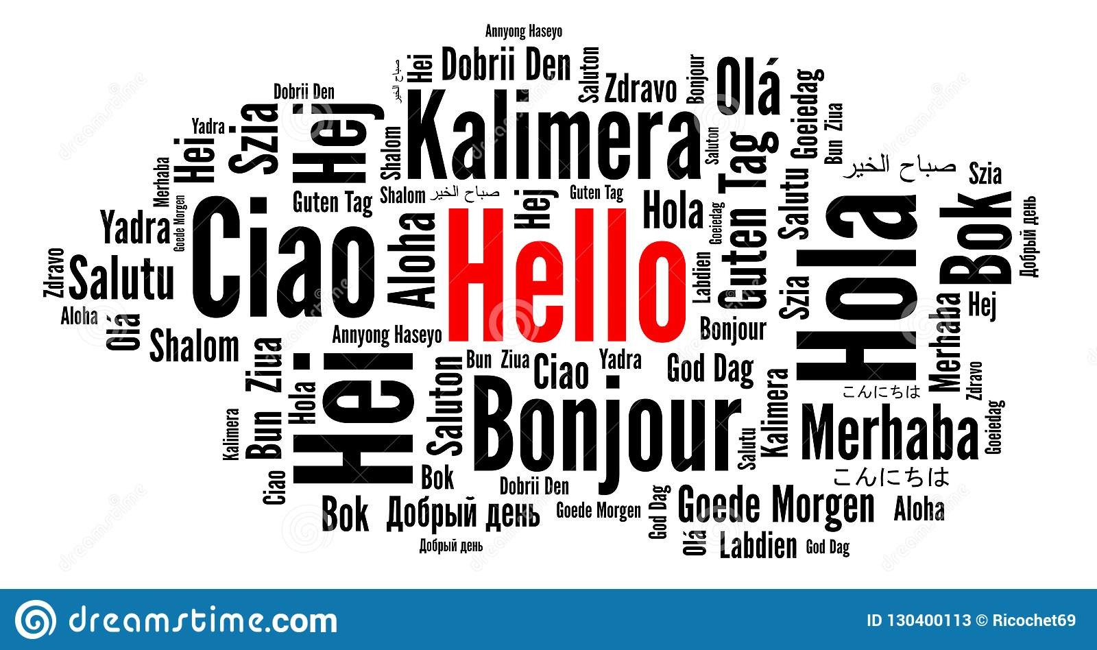 Hello In Different Languages Word Cloud Stock Illustration