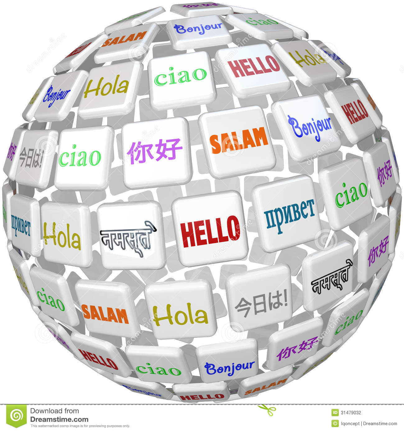 Hello Sphere Word Tiles Global Languages Cultures Stock