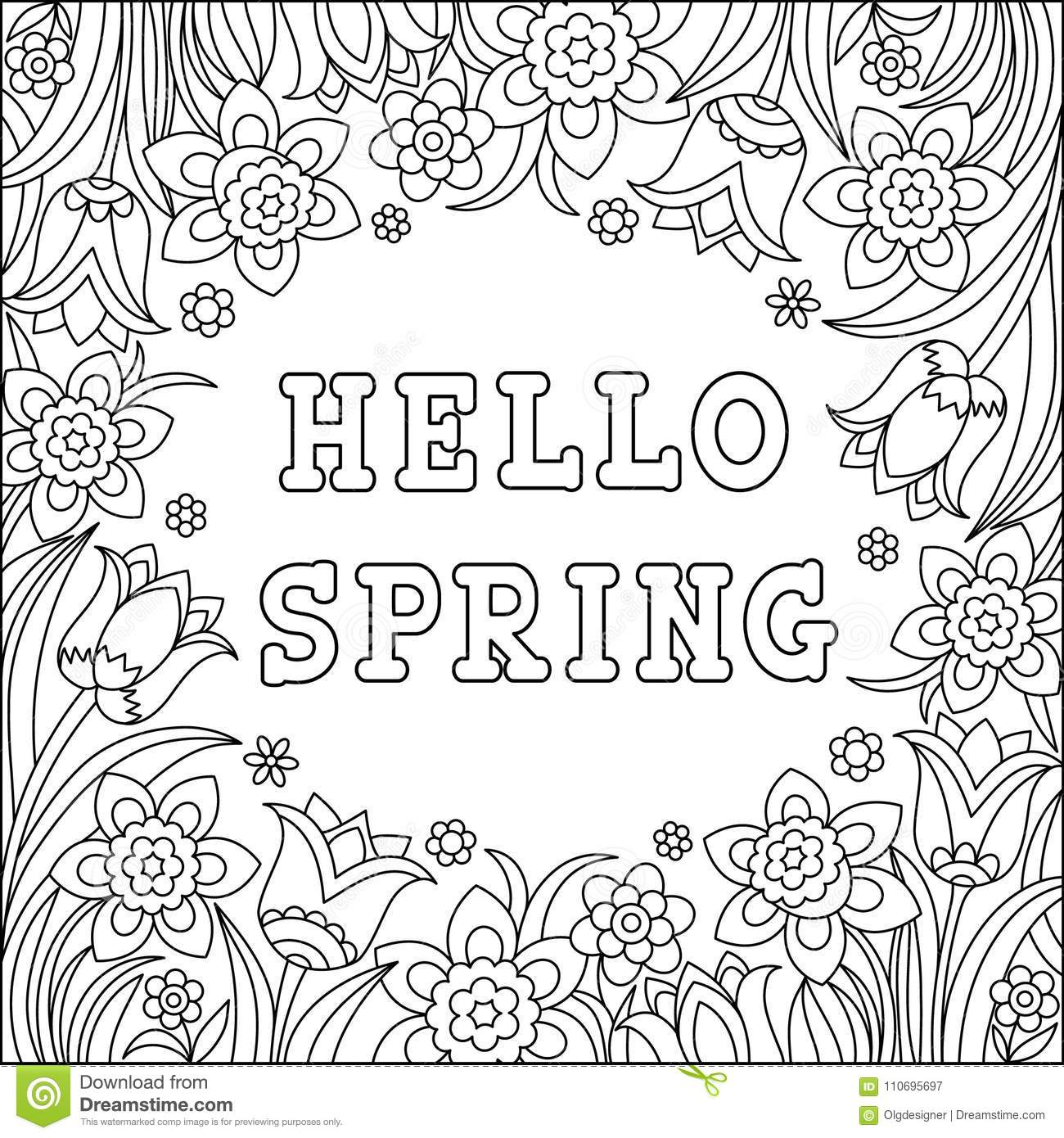 Hello Spring Coloring Page Stock Vector Illustration Of