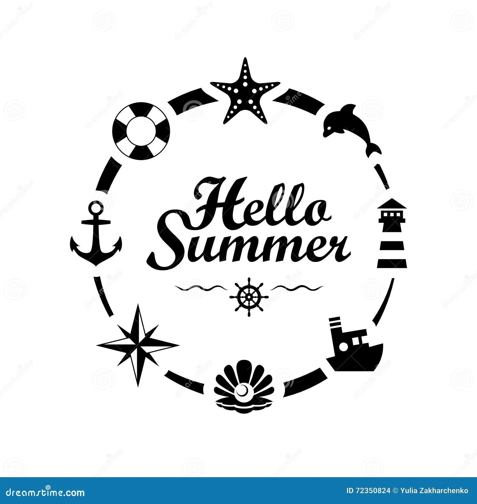 Hello Summer Lettering On White Background Stock Vector