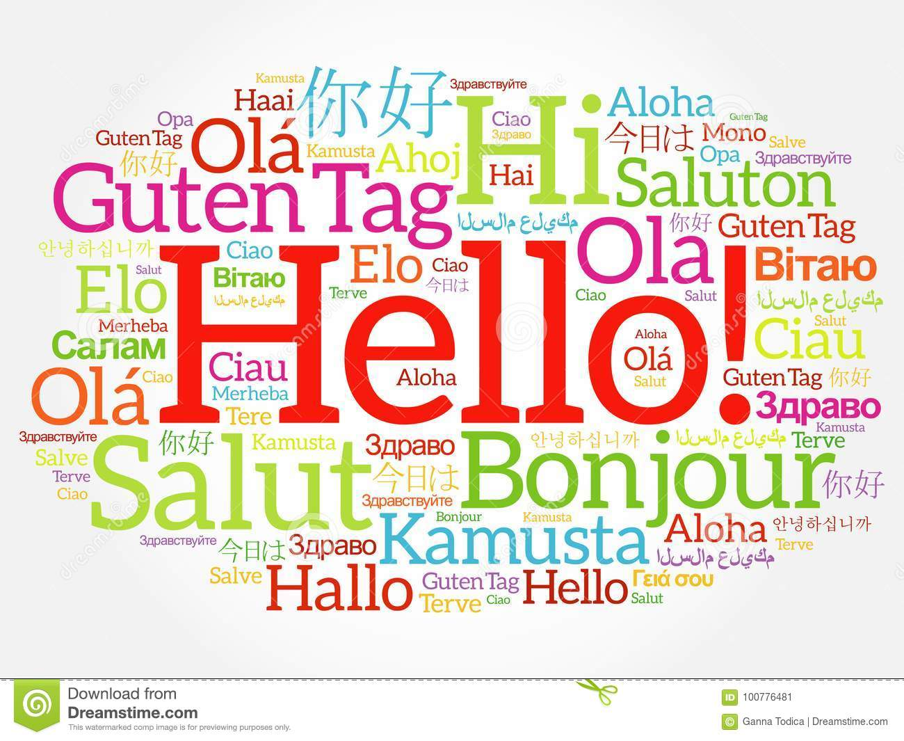 Hello Word Cloud Collage In Different Languages Stock