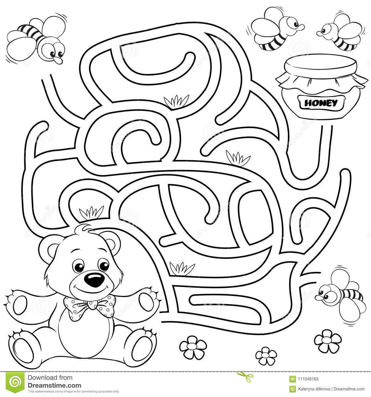 Help Bear Find Path To Honey Labyrinth Maze Game For