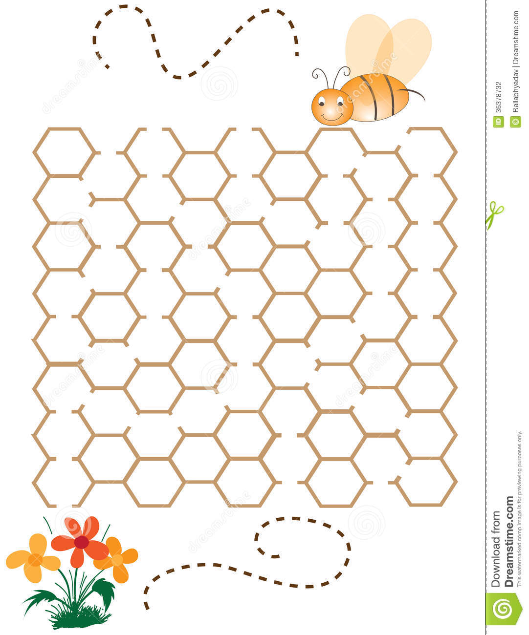 Children Puzzle Game Help The Bee Stock Vector