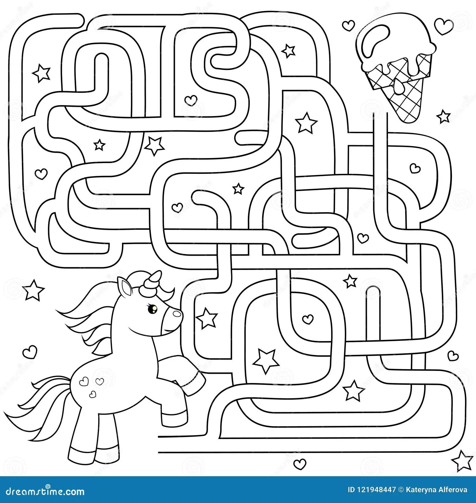 Help Unicorn Find Path To Ice Cream Labyrinth Maze Game