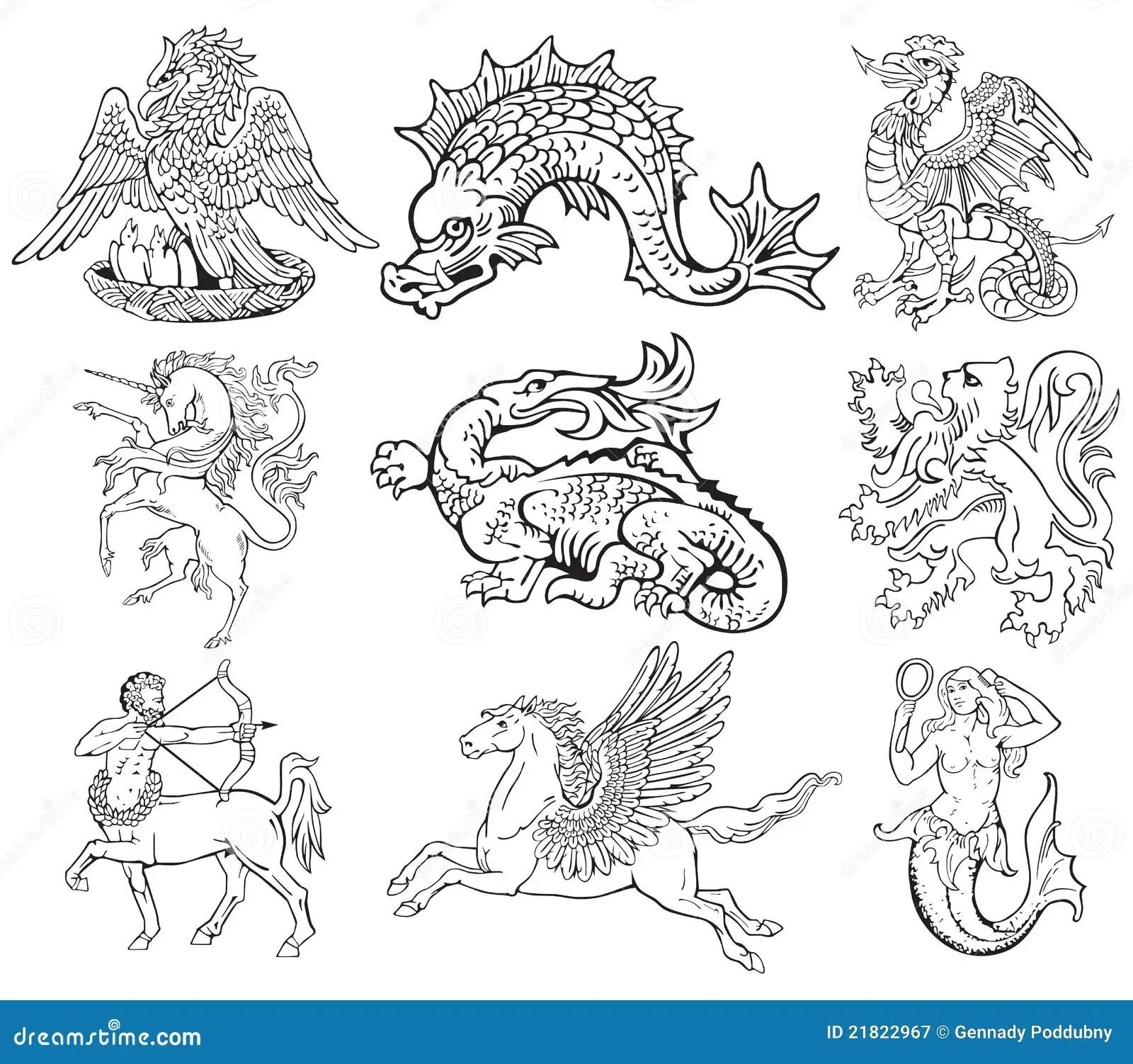 Heraldic Monsters Vol Vii Stock Vector Illustration Of