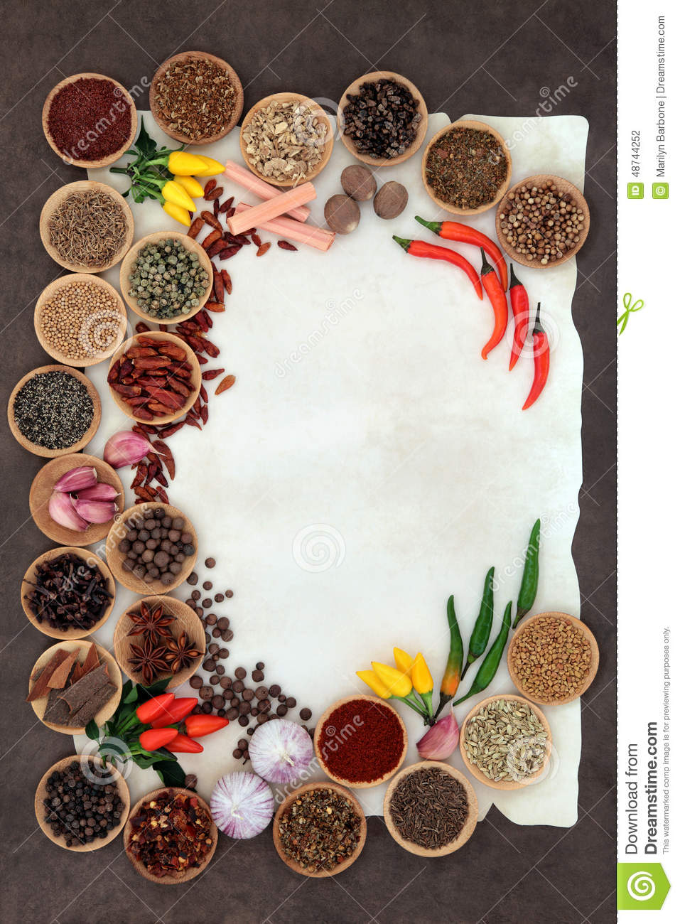 Herb And Spice Border Stock Photo Image 48744252