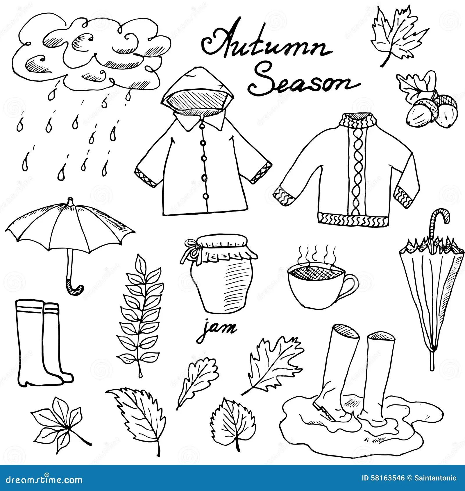 Herbstsaisonsatz Kritzelt Elemente Hand Gezeichneter Satz