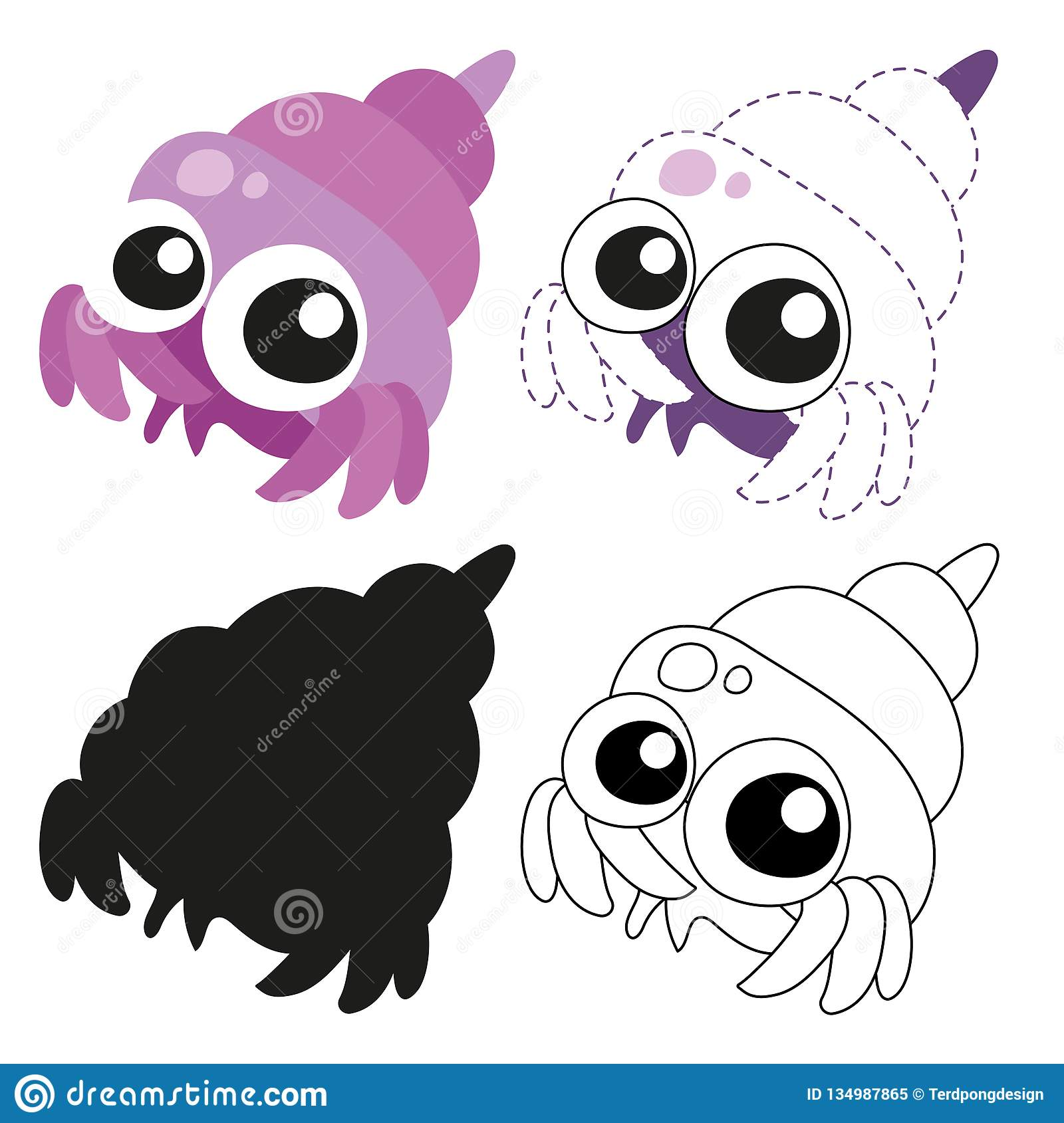 Hermit Crab Worksheet Vector Design Stock Vector