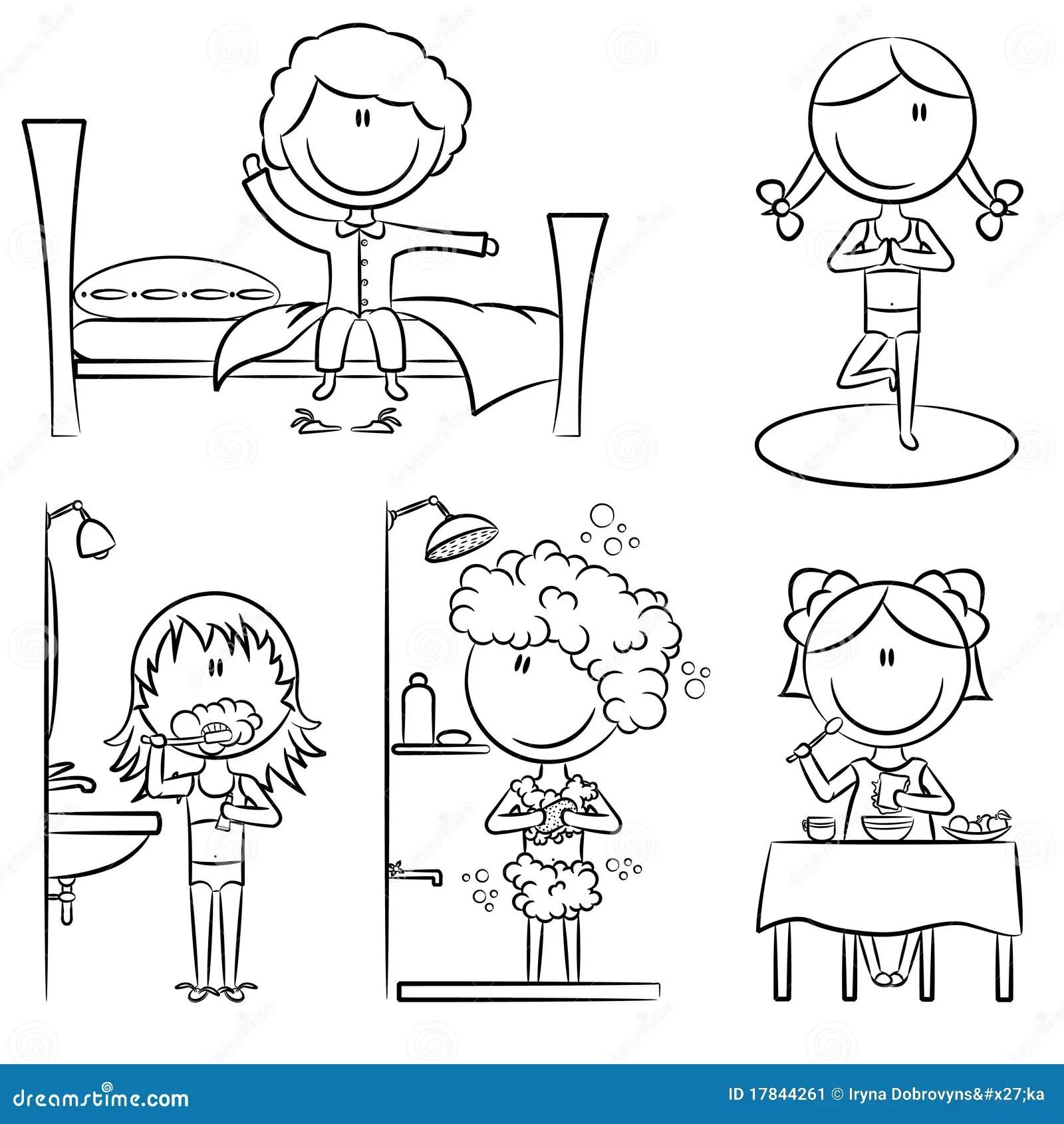 Het Dagelijkse Leven Van De Meisjes Van De Ochtend Stock