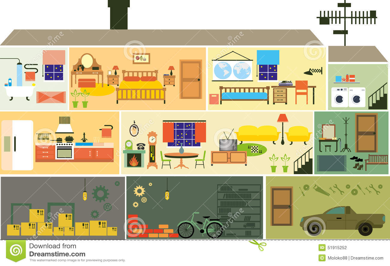 Het Huis Van De Beeldverhaalfamilie Vector Illustratie