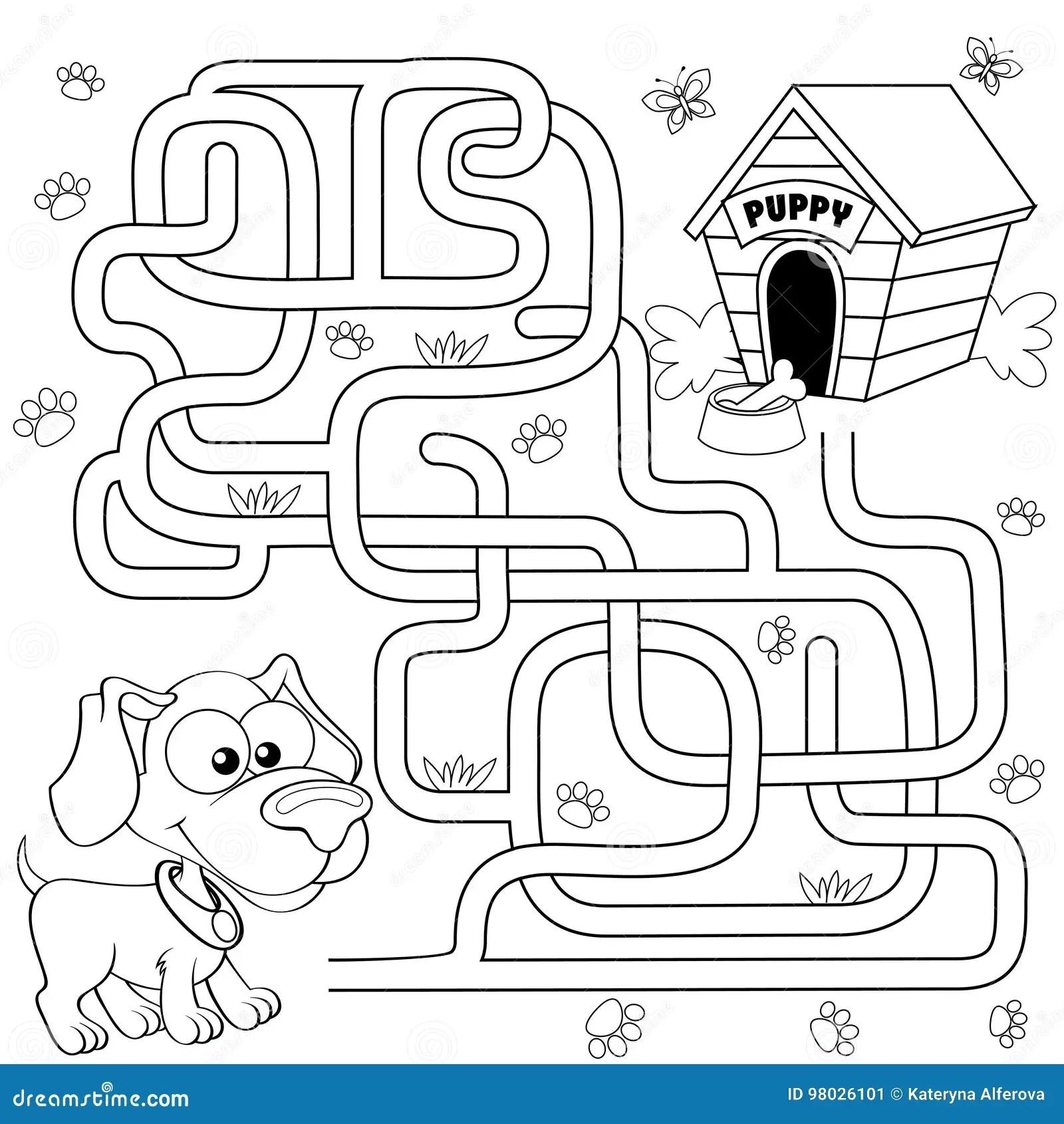 Het Hulppuppy Vindt Weg Aan Zijn Huis Labyrint Het Spel
