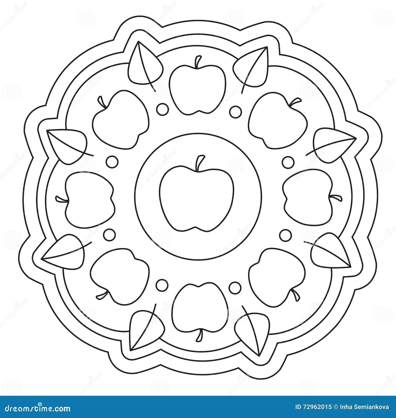 Het Kleuren Van Eenvoudig Apple Mandala Vector Illustratie
