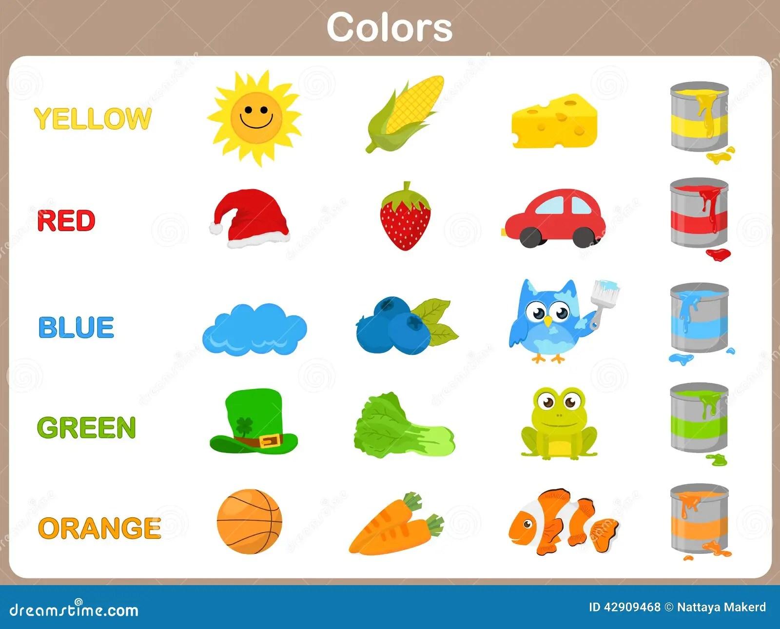 Het Leren Van De Objecten Kleuren Voor Jonge Geitjes Vector Illustratie