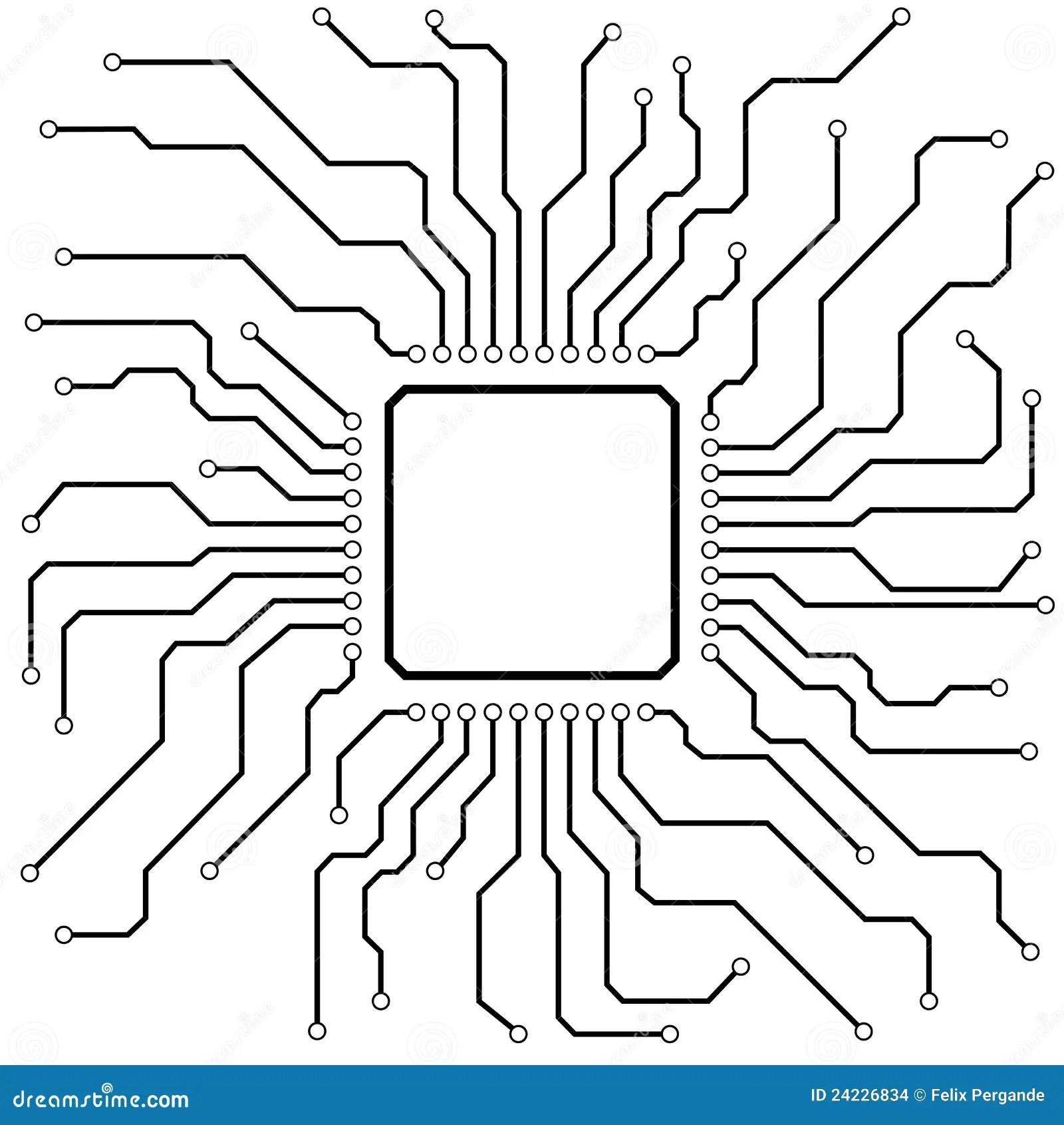 Hi Tech Circuit Board Stock Vector Illustration Of Chip