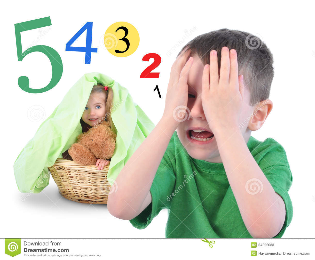 Hide And Go Seek Numbers Game On White Stock Image