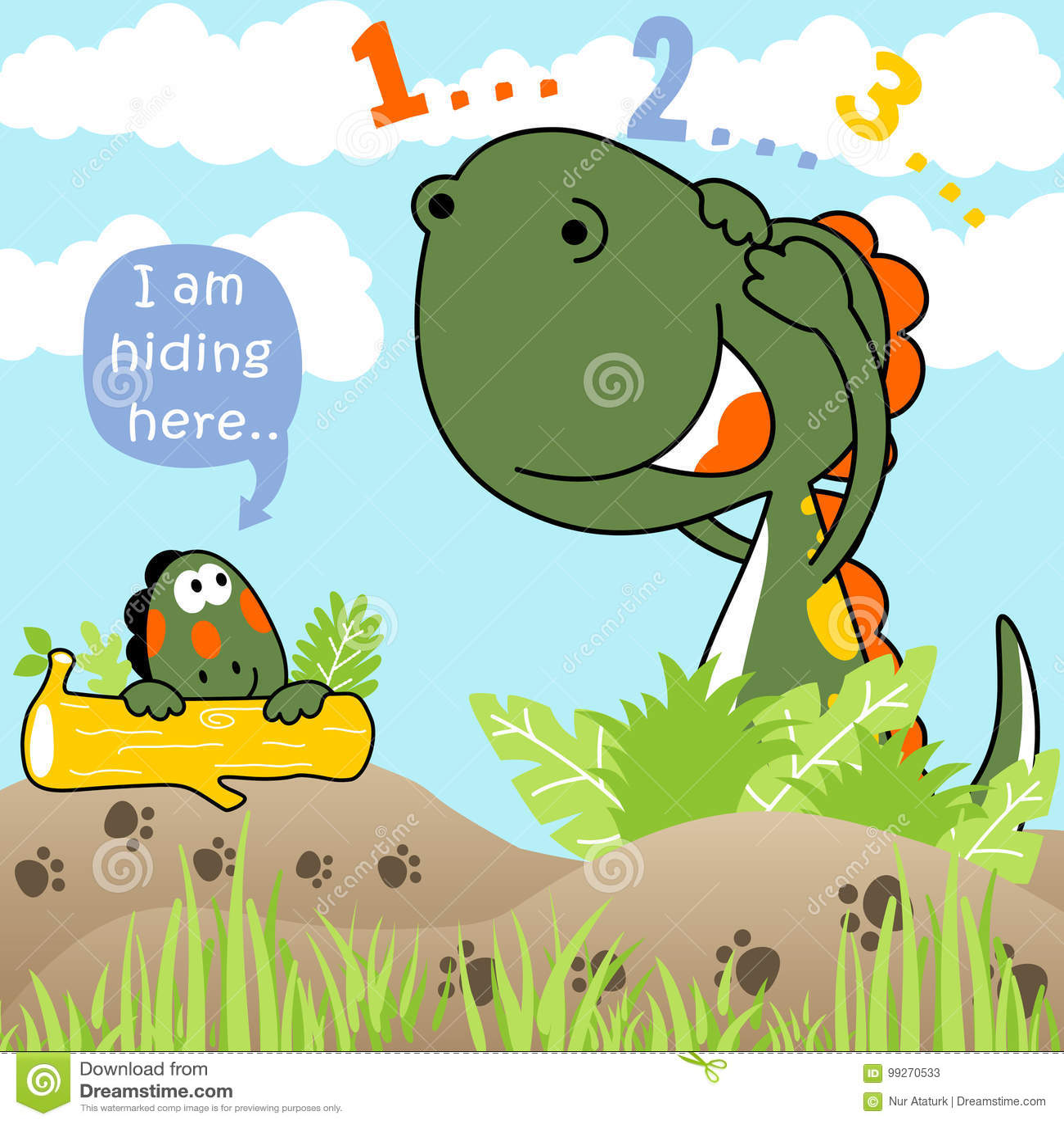 Counting Game Cartoon Illustration Cartoon Vector