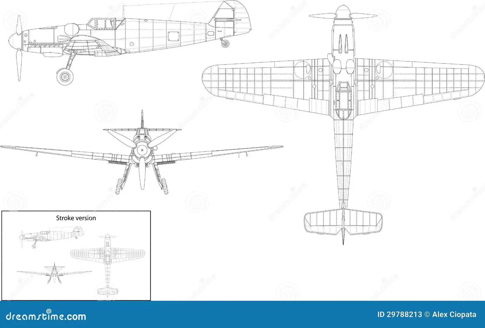 Messerschmitt Bf 109 Stock Vector Illustration Of