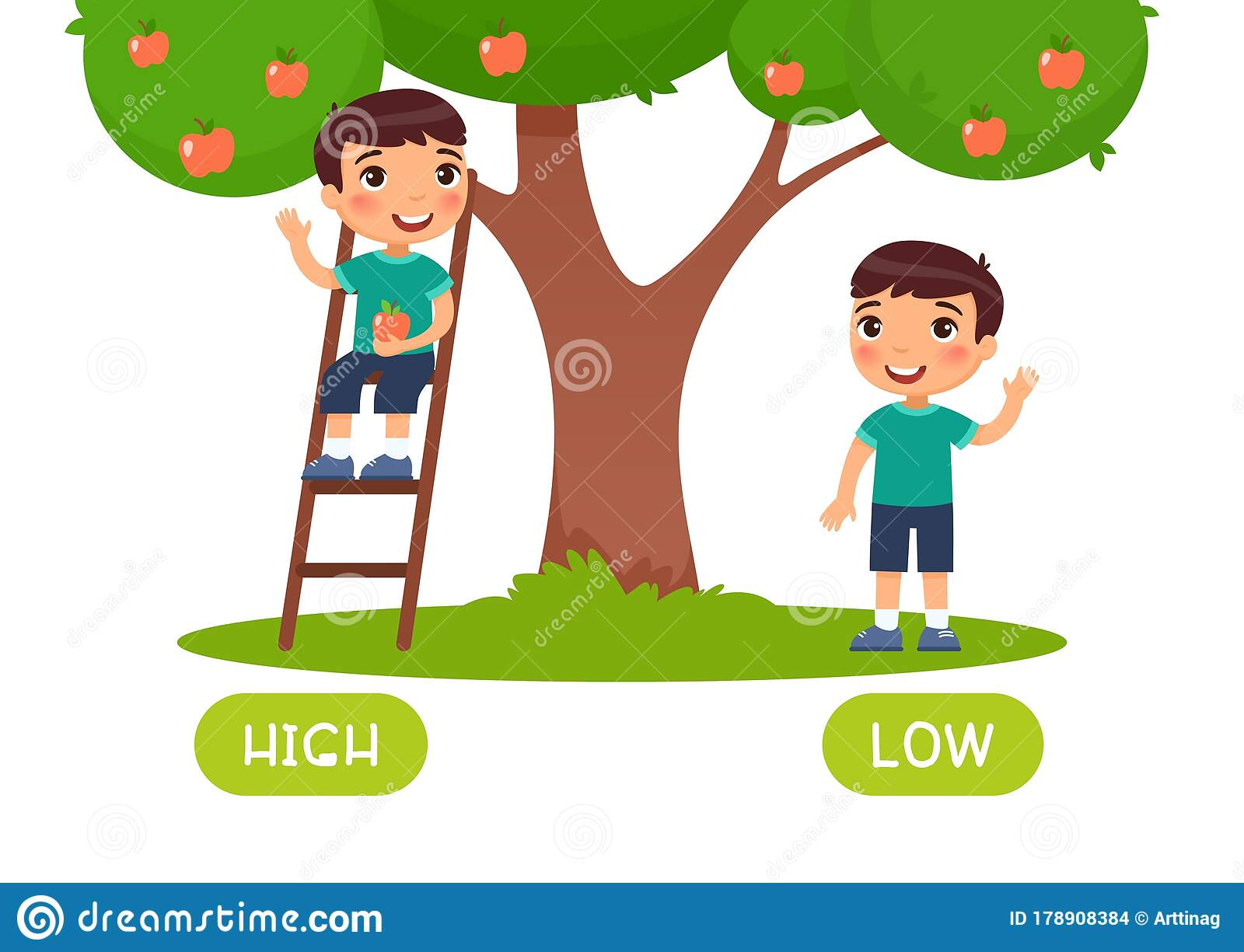 High And Low Antonyms Word Card Vector Template Flashcard