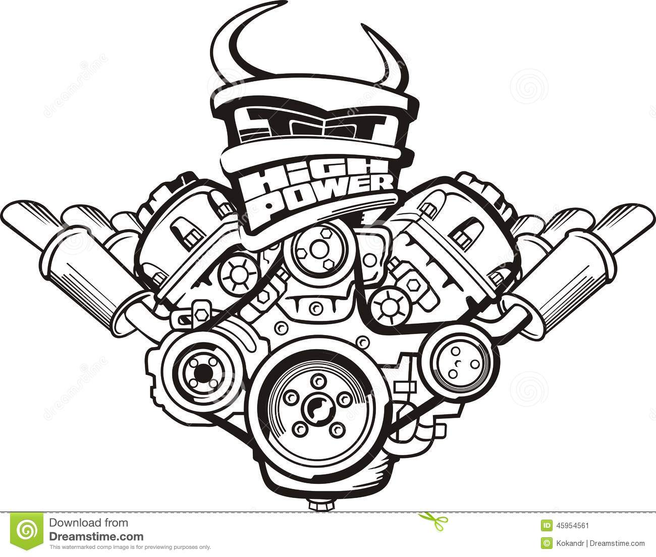 High Power Engine Stock Vector