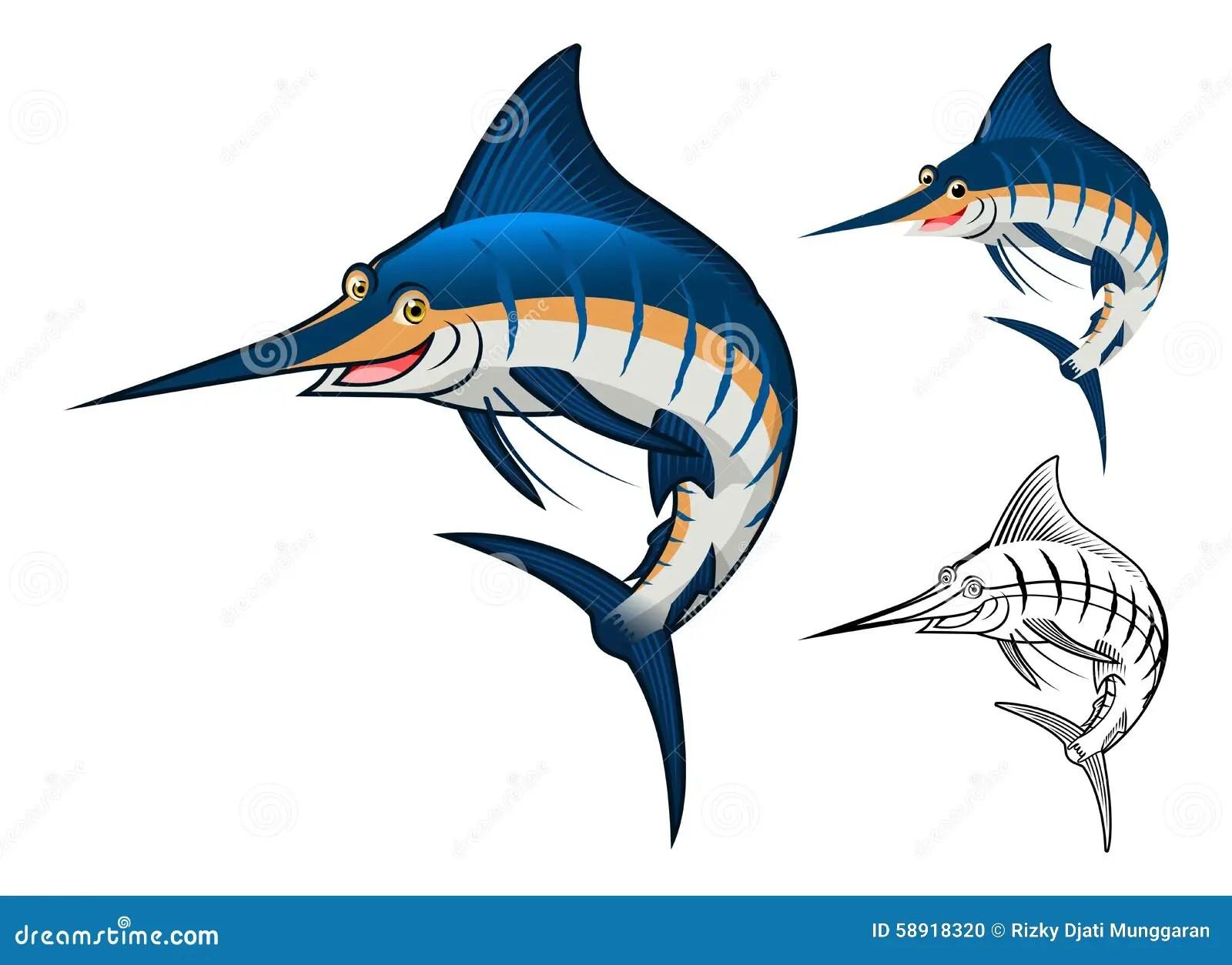 Coloring Book Sailfish Cartoon Vector