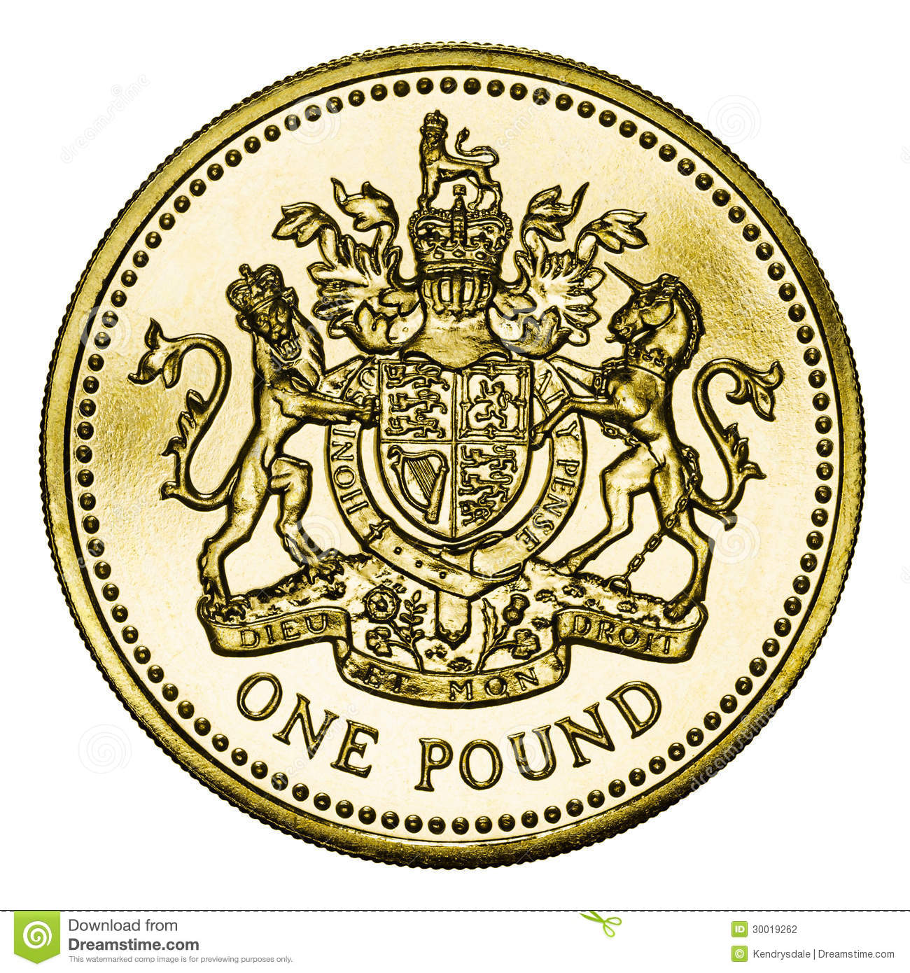 One Pound Coin Gbp Isolated On White With Clipping Stock