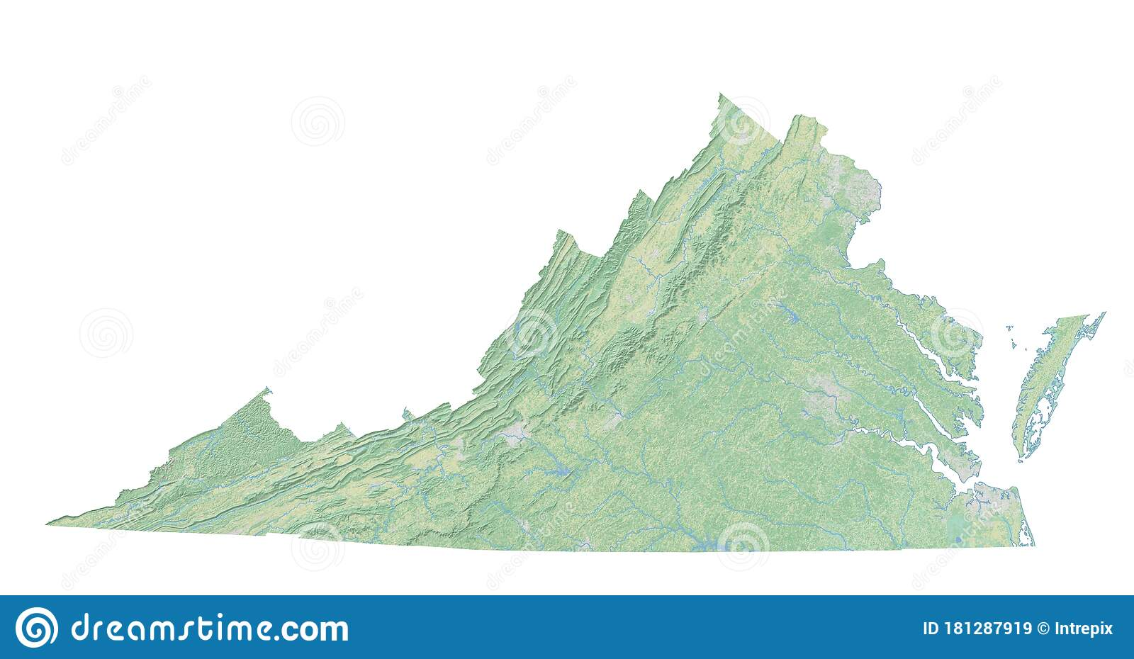 High Resolution Topographic Map Of Virginia Stock