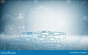 Hightech Gear On A Blue Background Stock Illustration