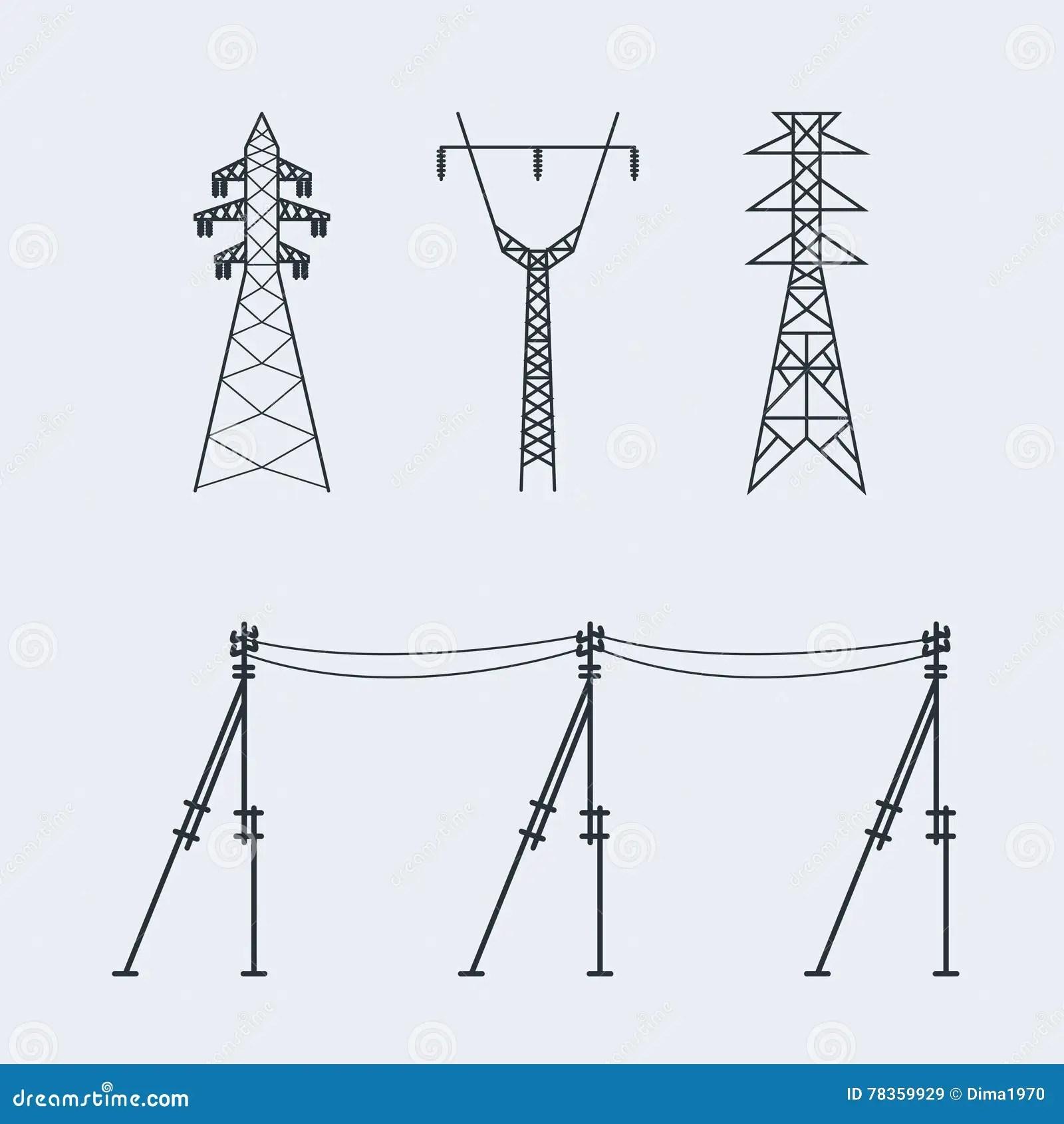 High Voltage Electric Line Pylon Icon Set Suitable For