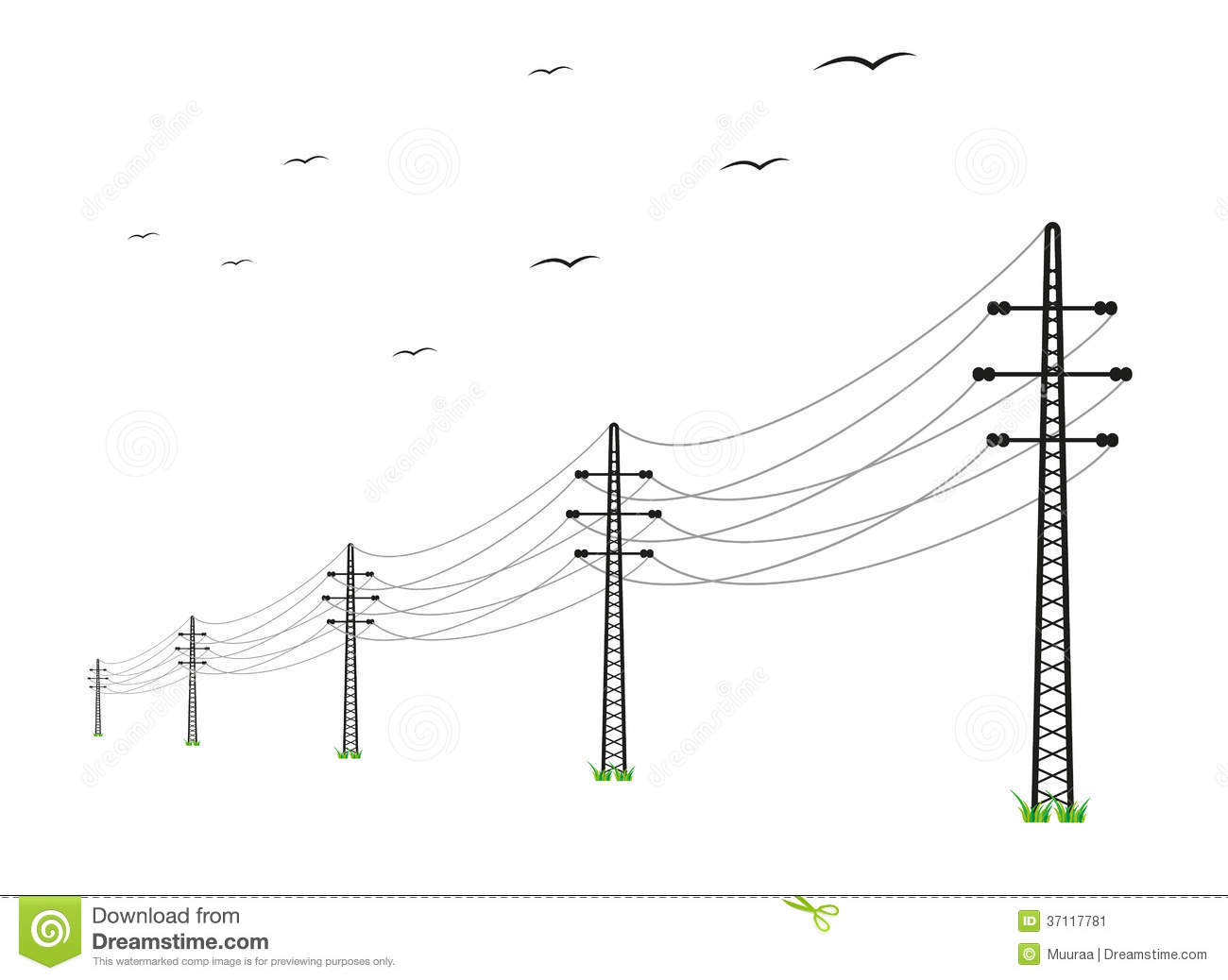 High Voltage Power Lines Stock Vector Illustration Of