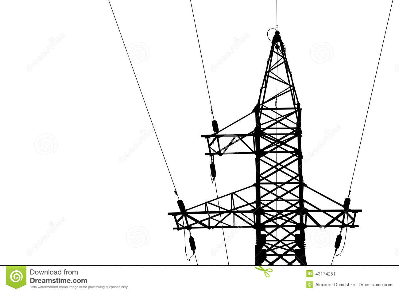 High Voltage Power Lines And Pylon Cartoon Vector