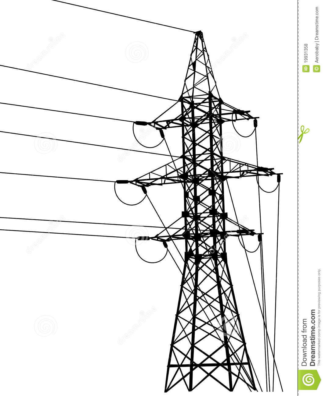 High Voltage Tower Silhouette Stock Vector
