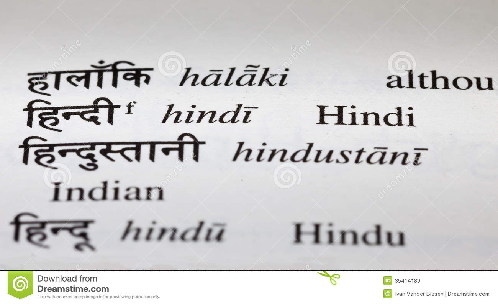 Hindi In Hindi Dictionary Royalty Free Stock Images