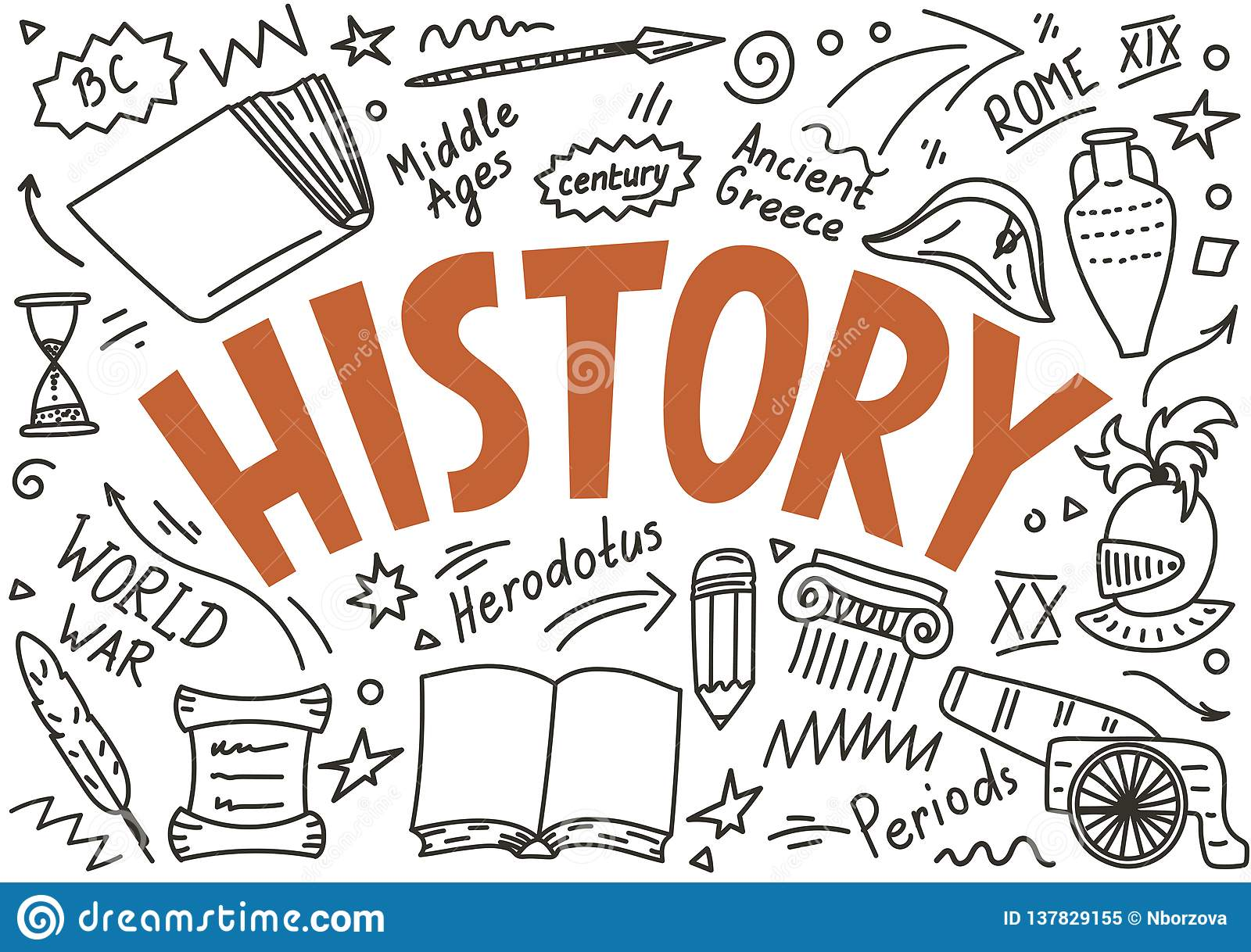History Doodles With Lettering Stock Vector
