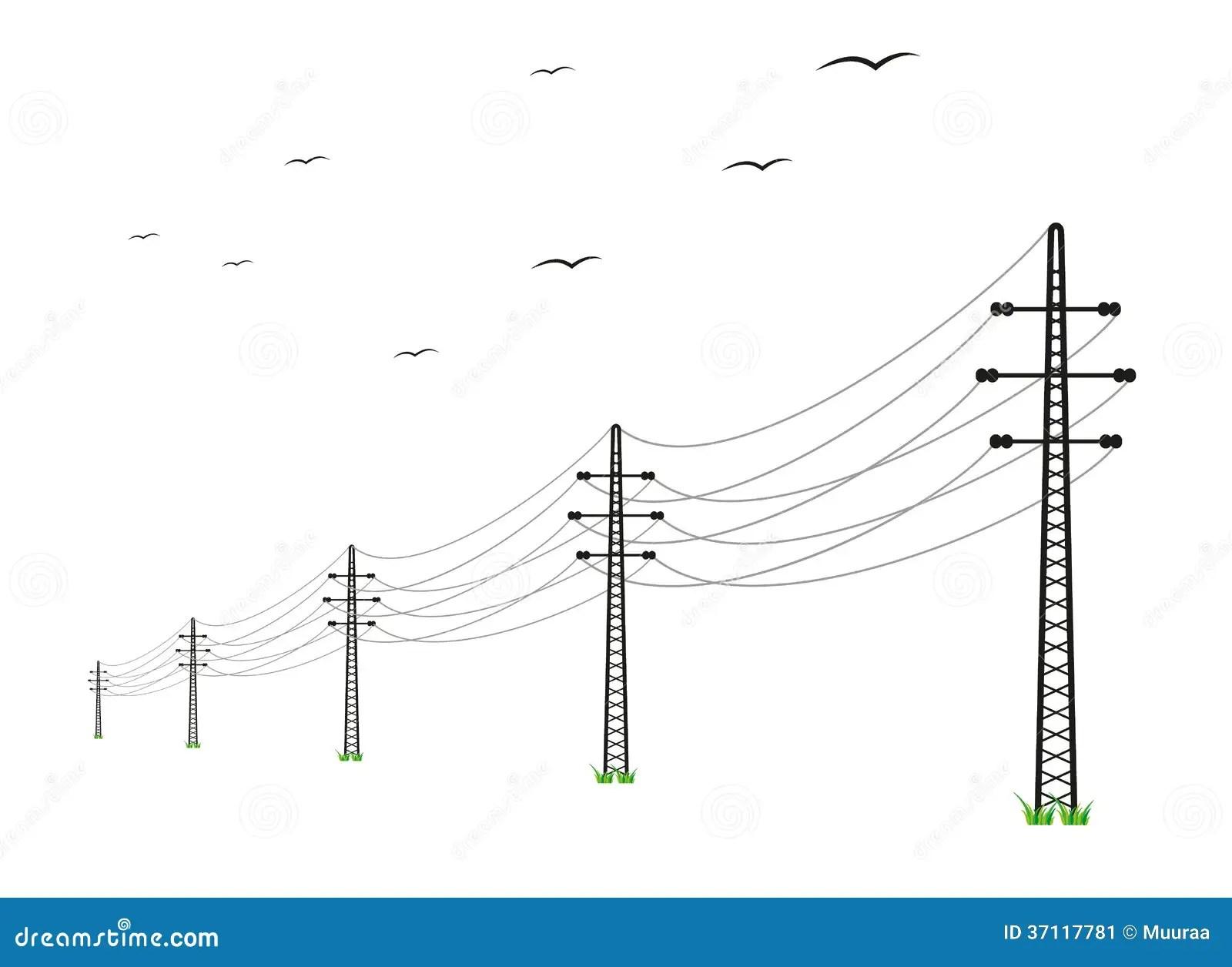 Hochspannungsleitungen Vektor Abbildung Illustration Von