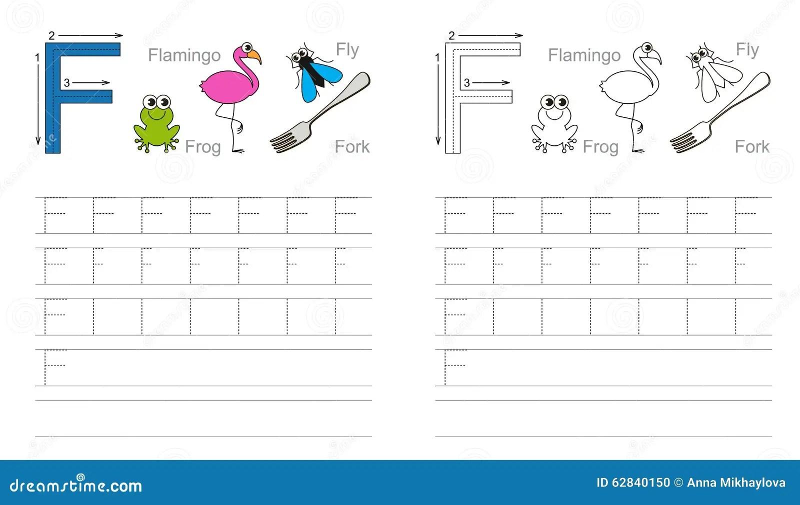 Hoja De Trabajo De Trazado Para La Letra F Ilustracion Del Vector