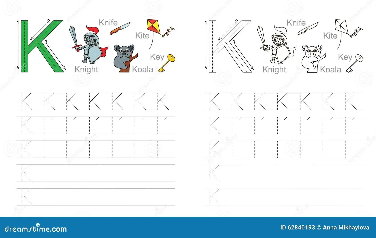 Hoja De Trabajo De Trazado Para La Letra K Ilustracion Del Vector
