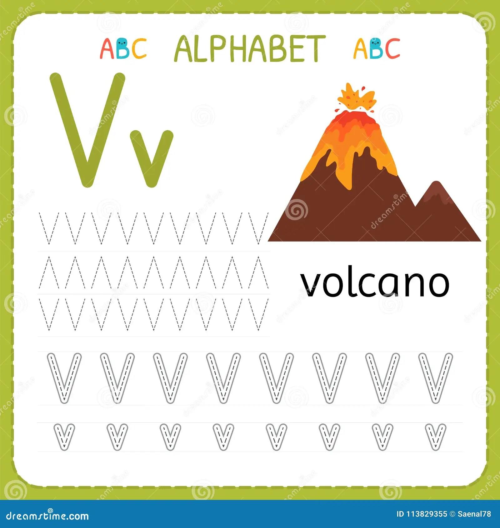Hoja De Trabajo De Trazado Del Alfabeto Para El Preescolar Y La Guarderia Letra V De La Practica