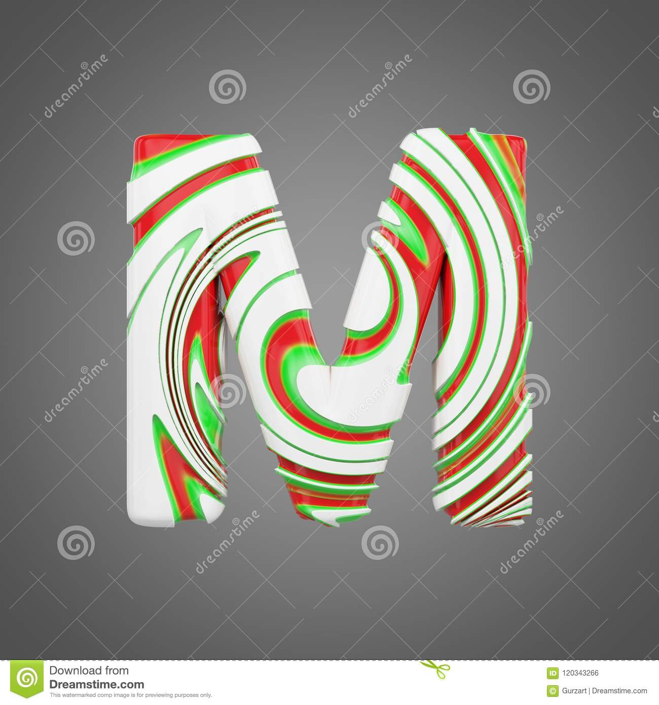 Holiday Alphabet Letter M Uppercase Christmas Font Made