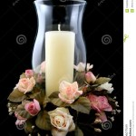 Holiday Candle And Flower Centerpiece Stock Photo Image Of Warming Glass 1595308