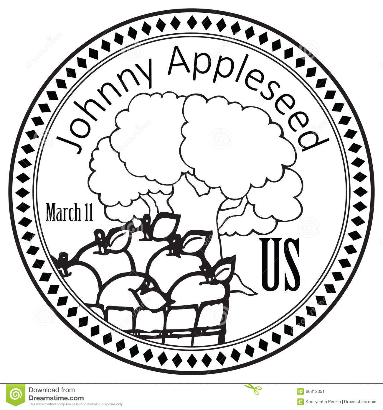 Holiday Johnny Appleseed Stock Vector Illustration Of