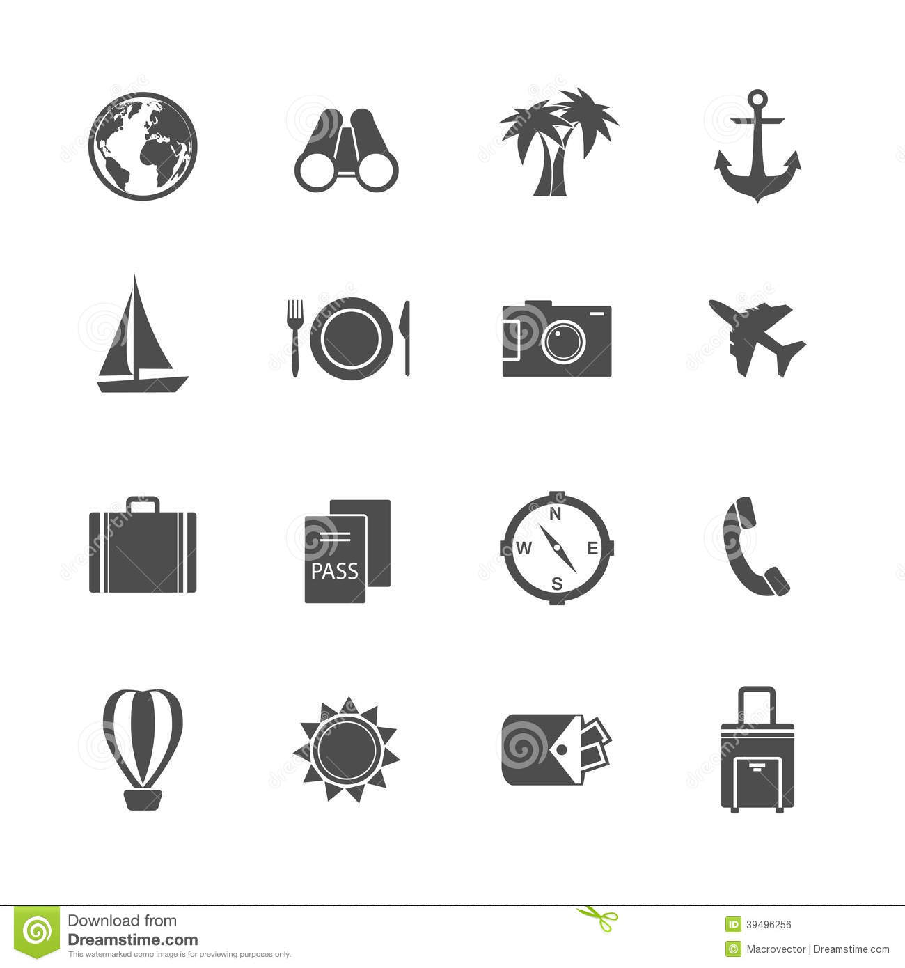 Holidays Vacation Pictograms Collection Stock Vector