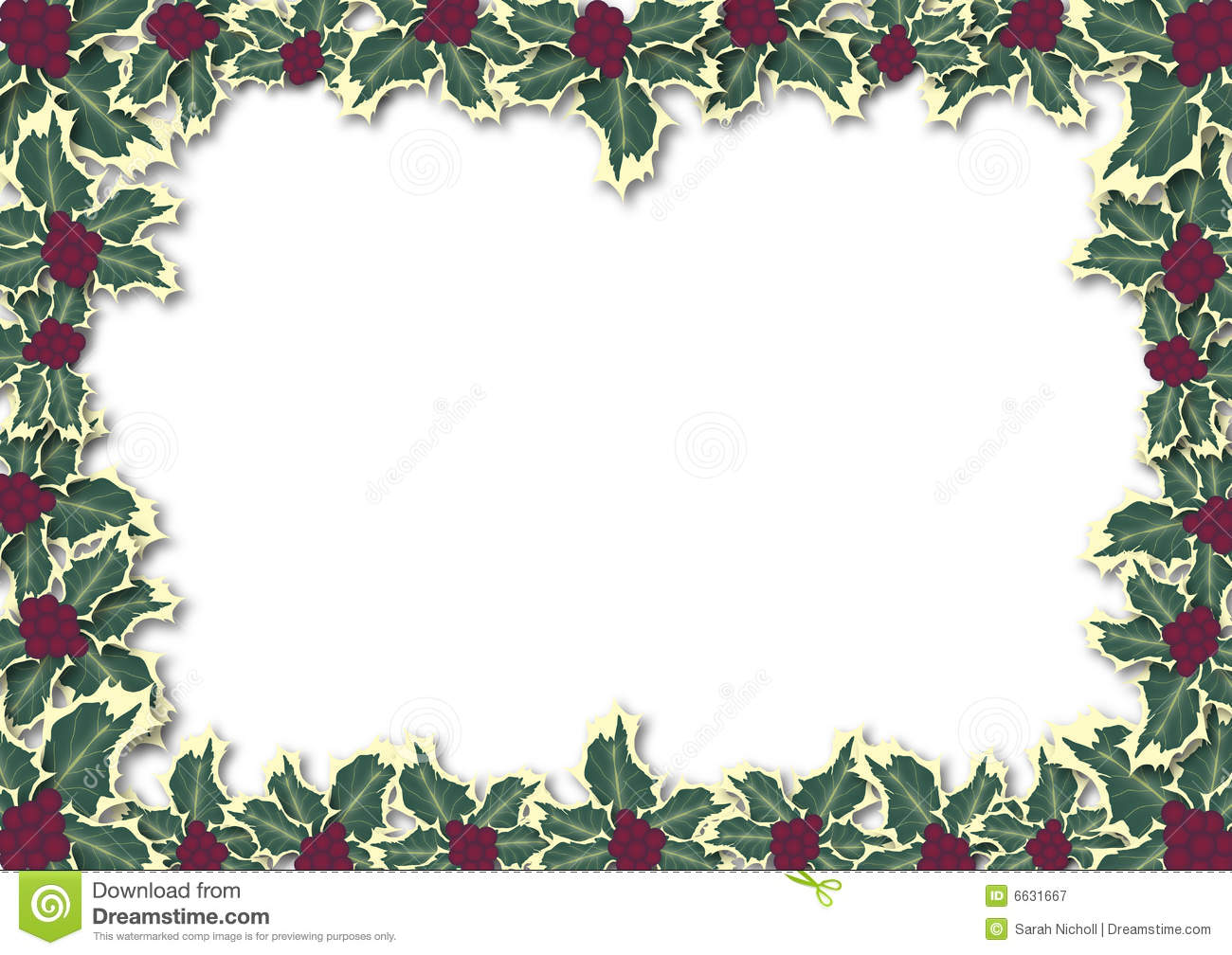 Holly Leaves Border Royalty Free Stock Photography Image