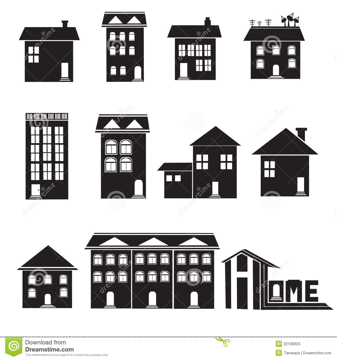 Home And Apartment Icons Set Stock Illustration