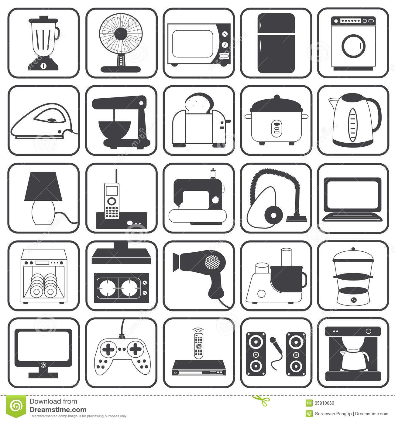 Home Appliance Icons Vector Set Stock Vector