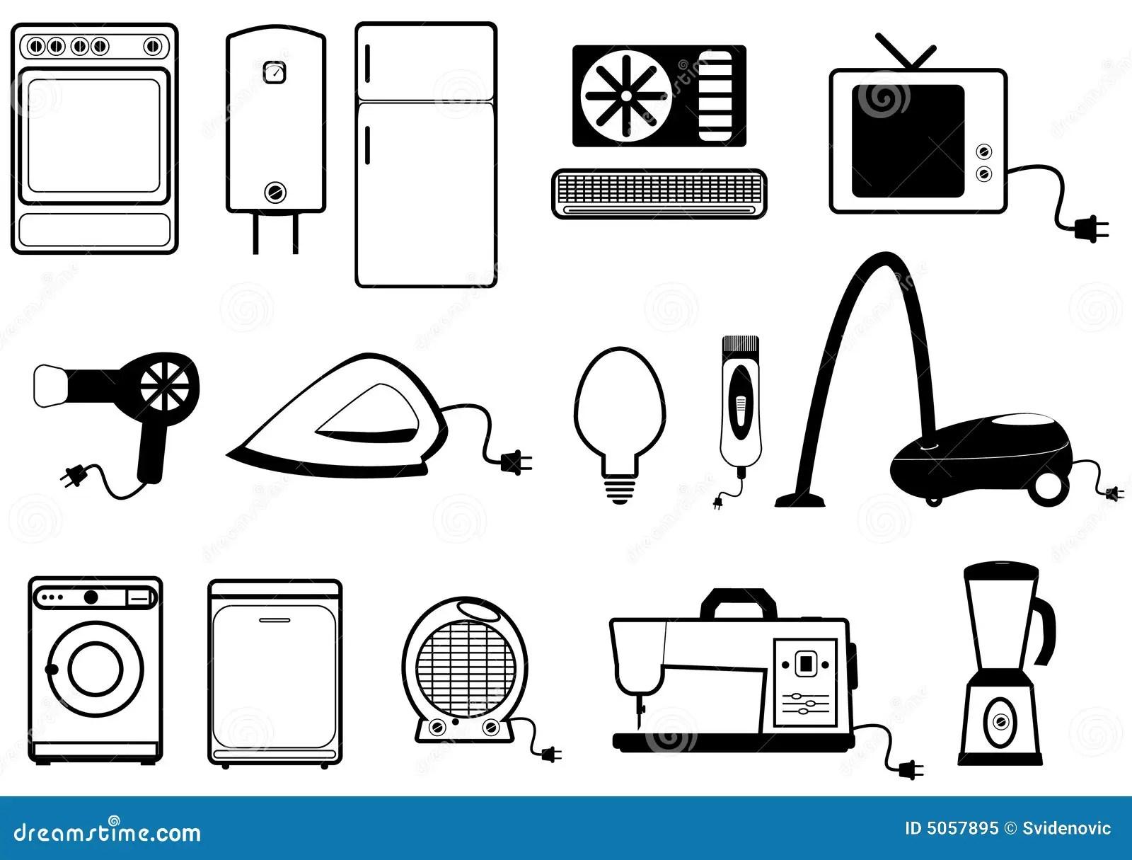 Home Appliances Stock Vector Illustration Of Mixer Refrigerator