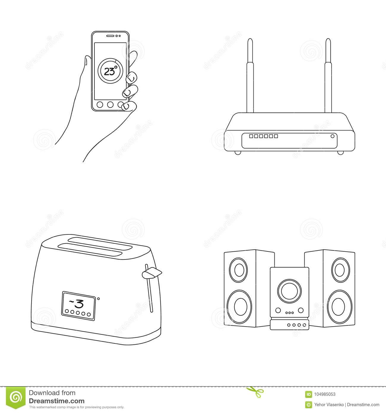 home appliances and equipment outline icons in set