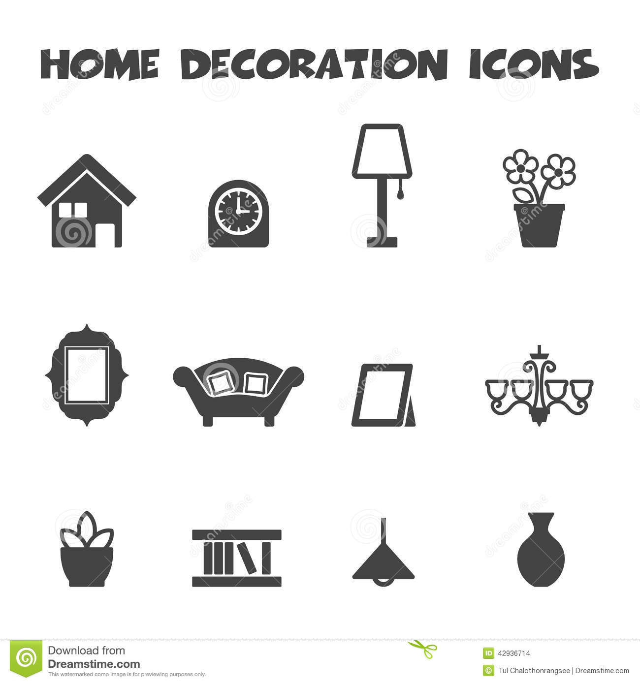 Home Decoration Icons Stock Vector Illustration Of